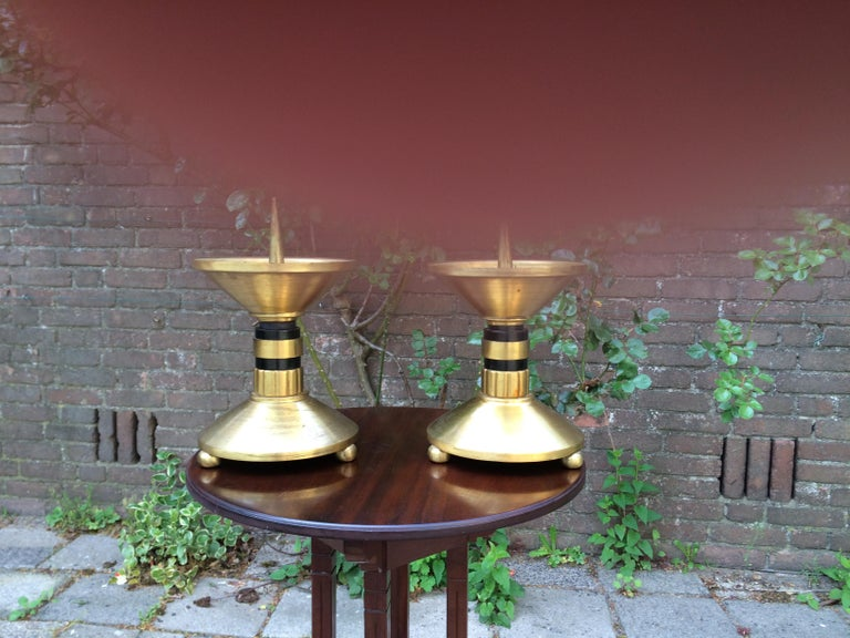Large Pair of Brass and Blackened Wood Church Altar Candlesticks Candle Holders For Sale 4