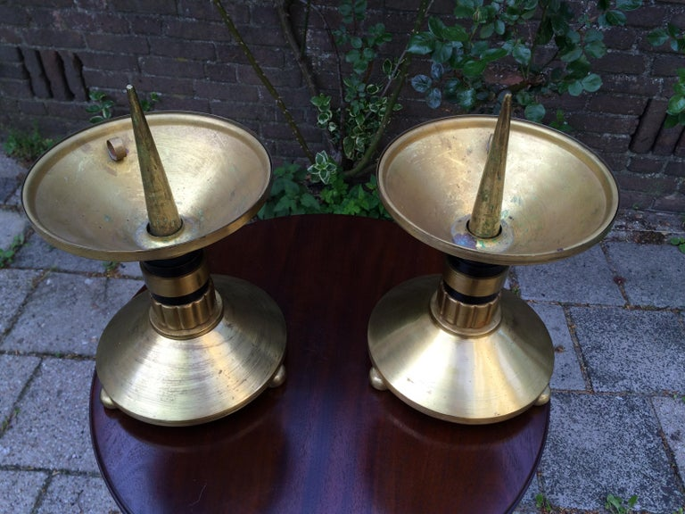 Large Pair of Brass and Blackened Wood Church Altar Candlesticks Candle Holders For Sale 5