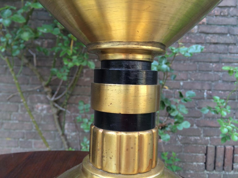 Large Pair of Brass and Blackened Wood Church Altar Candlesticks Candle Holders For Sale 9