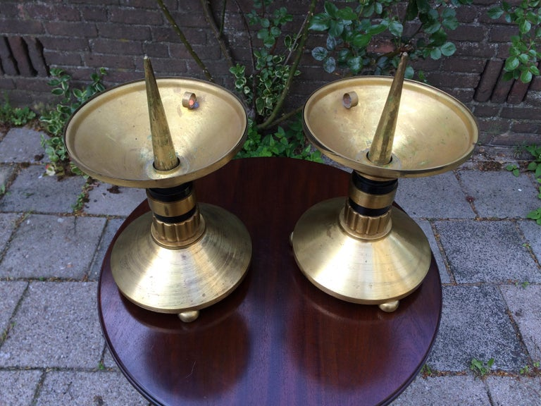 Rare and beautiful pair of church candlesticks with the original, large bobeches.  If you are looking for a rare and impressive pair of antique candle holders then this sizable and majestic pair could be flying your way soon. Their timeless design