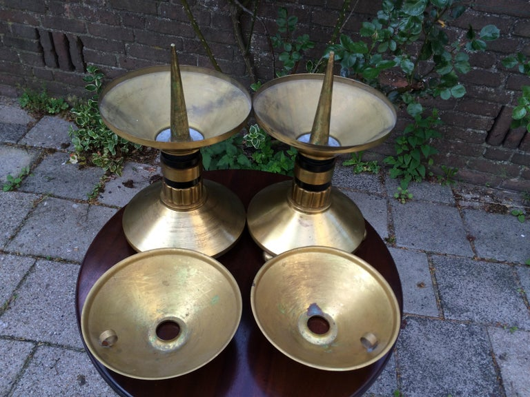 Art Deco Large Pair of Brass and Blackened Wood Church Altar Candlesticks Candle Holders For Sale