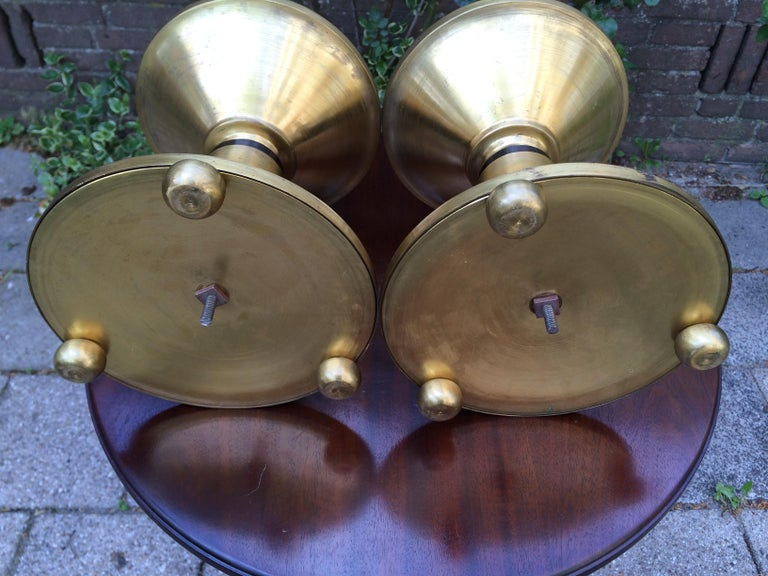Large Pair of Brass and Blackened Wood Church Altar Candlesticks Candle Holders For Sale 1
