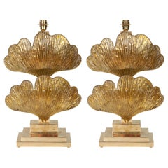 Large Pair of Brass and Gold Metallic Murano Glass Ginko Leaf Lamps, Italy, 2019