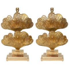 Large Pair of Brass and Gold Metallic Murano Glass Ginko Leaf Lamps, Italy