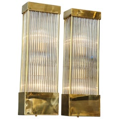 Large Pair of Brass and Murano Glass Rectangular Sconces, Italy