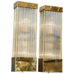 Large Pair of Brass and Murano Glass Rods Rectangular Sconces, Italy