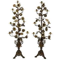 Large Pair of Brass Candlesticks with Floral Urns