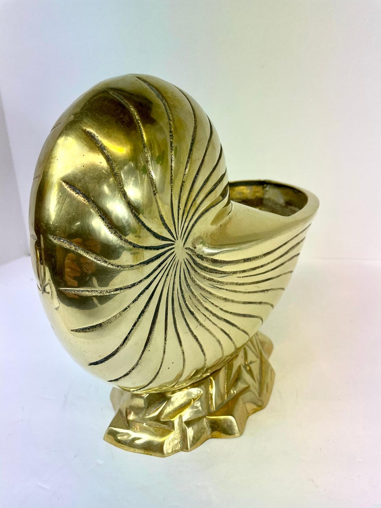 Large Pair of Brass  Seashell Nautilus For Sale 1