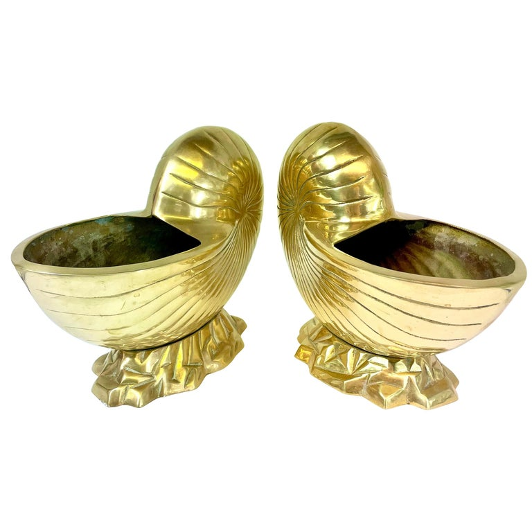 Large Pair of Brass  Seashell Nautilus For Sale