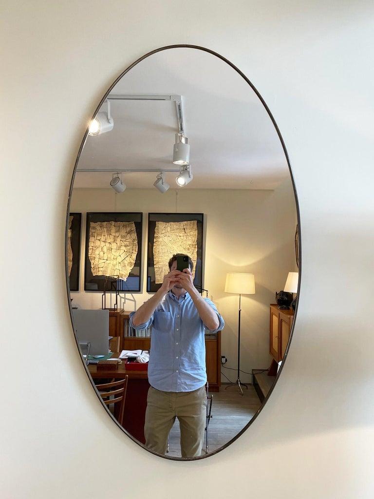 Italian Large Pair of Brass Oval Mirror