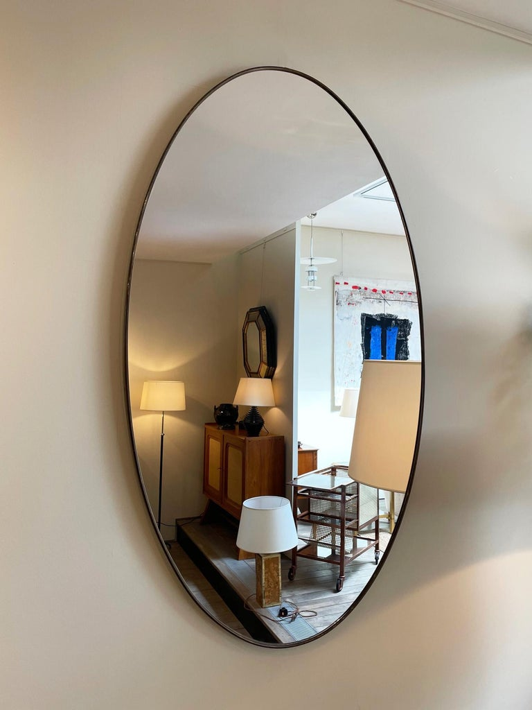 Large Pair of Brass Oval Mirror In Good Condition In London, GB