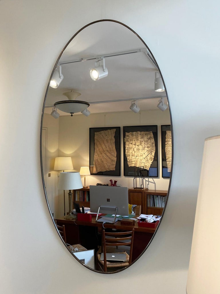 Large Pair of Brass Oval Mirror 1
