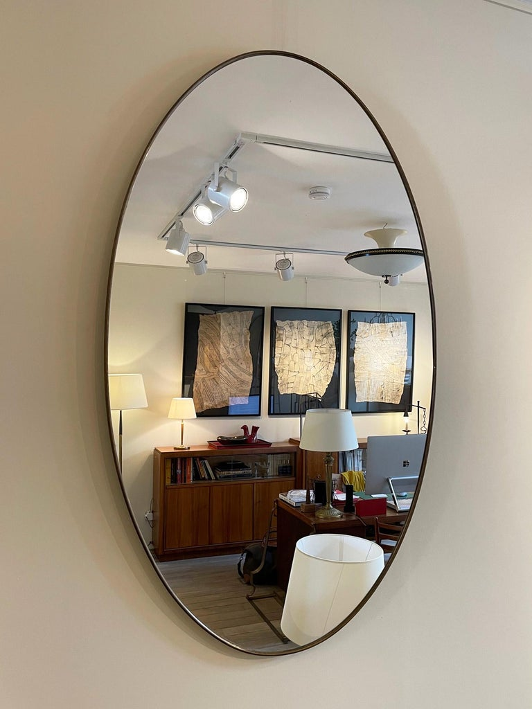 Large Pair of Brass Oval Mirror 2