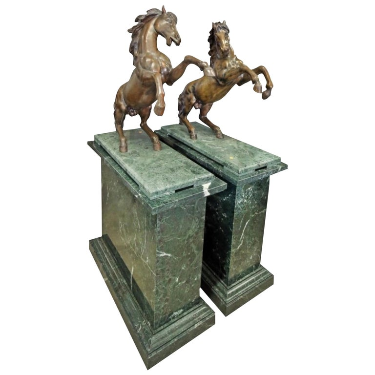 Large Pair of Bronze Horses on Marble Bases For Sale