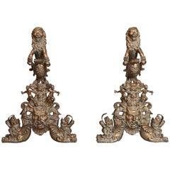 Large Pair of Bronze Rococo Andirons with Standing Lions