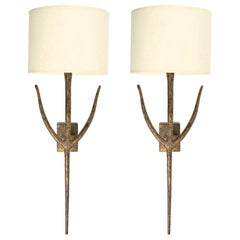 Large Pair of Bronze Wall Lights by Franco Lapini for Porta Romana, 1980