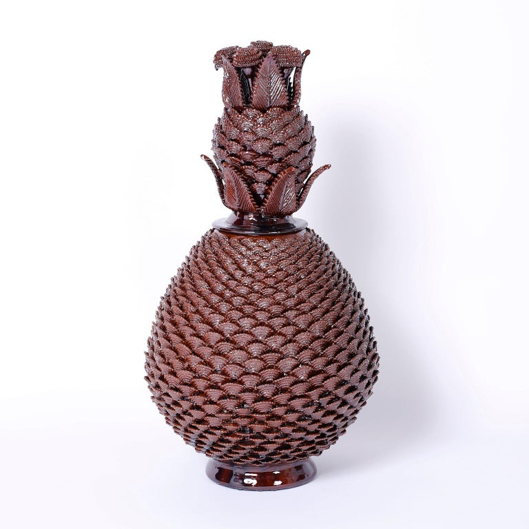 Large Pair of Brown Glazed Terra Cotta Lidded Pineapple Urns 2