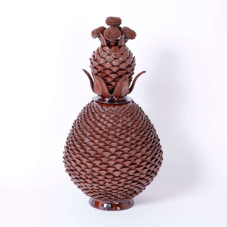 Large Pair of Brown Glazed Terra Cotta Lidded Pineapple Urns 8