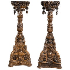 Large Pair of Carved Anglo-Indian Jardinière Pedestals