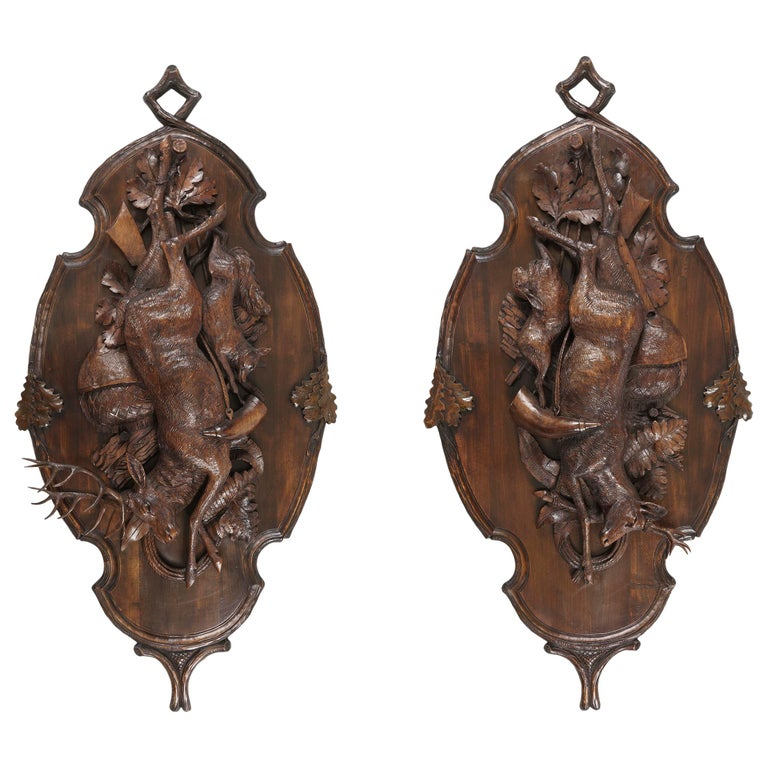 Large Pair of Carved Black Forest Trophy Plaques depicting Deer, a Hare, and Fox For Sale