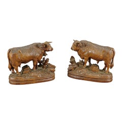 Large Pair of Carved Bull and Cow Statues, Brienz, ca. 1900