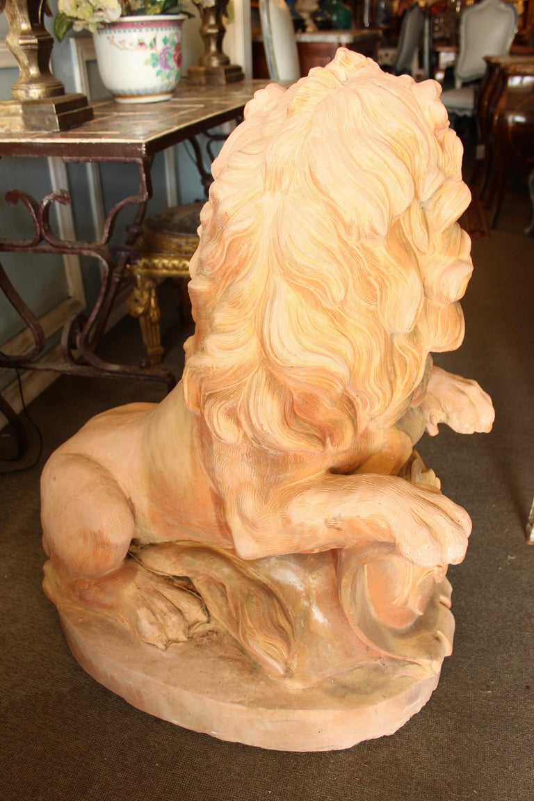Large Pair of Cast Stone Garden Lions For Sale 4