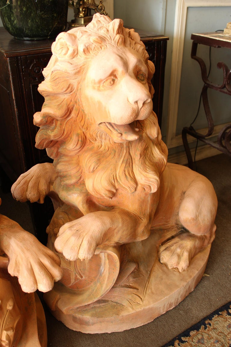 Baroque Large Pair of Cast Stone Garden Lions For Sale