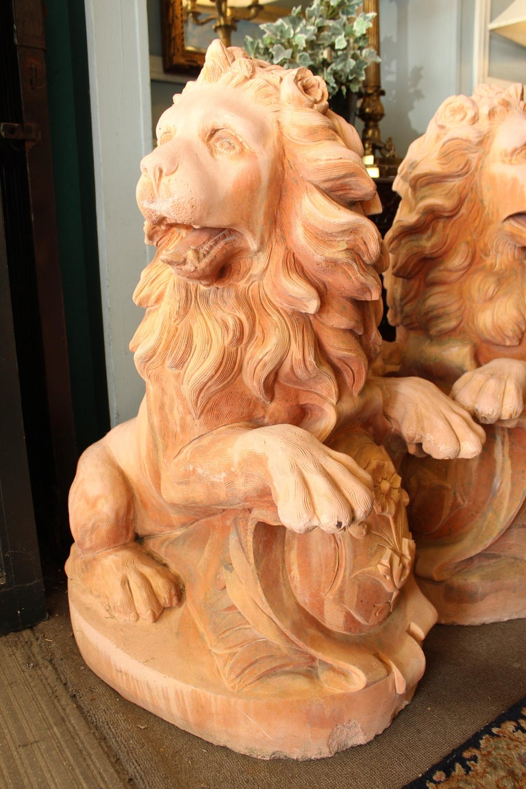 Unknown Large Pair of Cast Stone Garden Lions For Sale