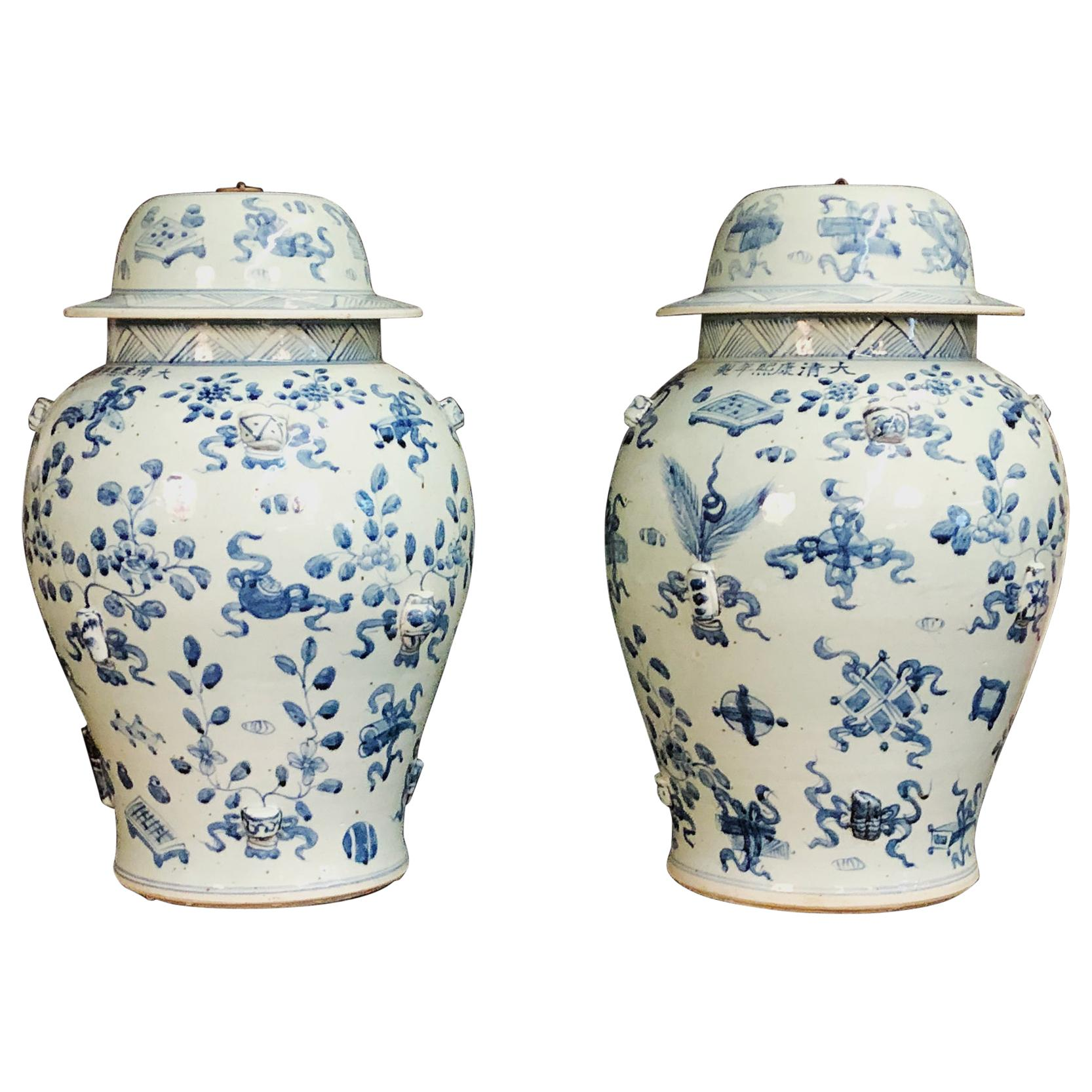 Large Pair of Chinese Export Temple Jars