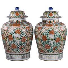 Large Pair of Chinese Porcelain Covered Jars, circa 1880