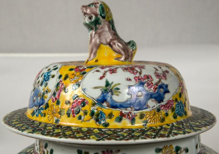 Large Pair of Chinese Porcelain Covered Jars In Good Condition For Sale In Woodbury, CT