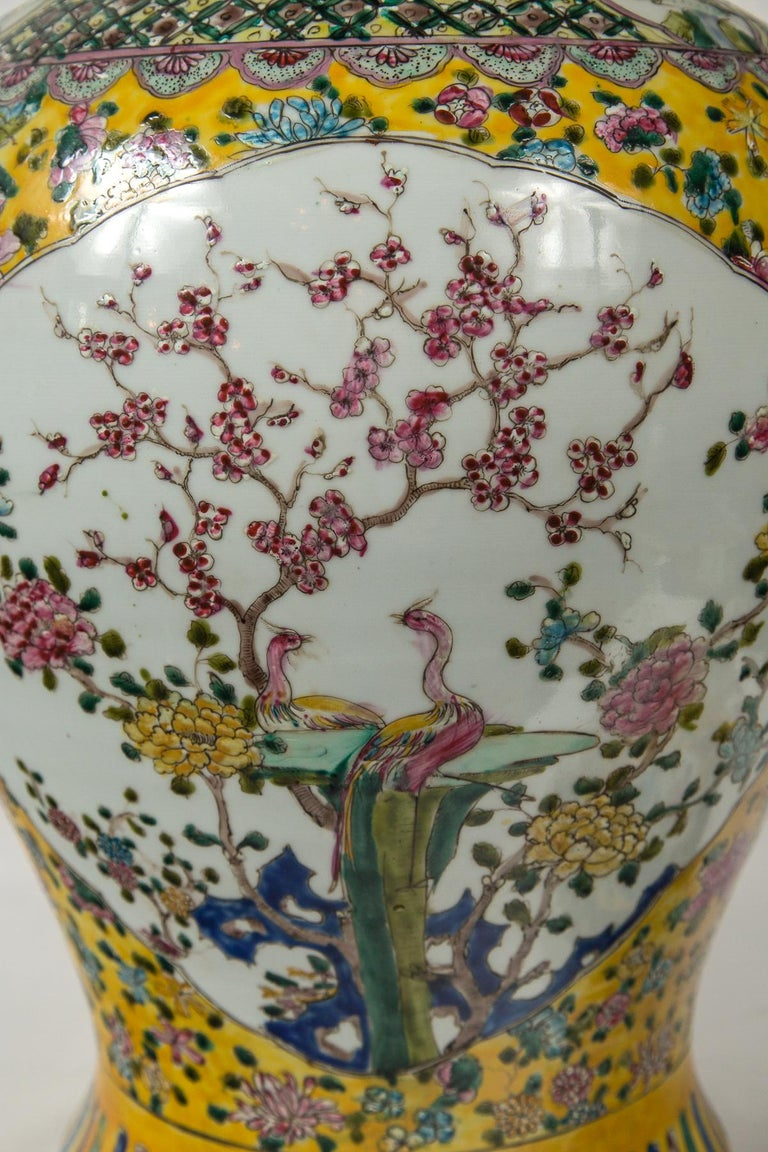 Large Pair of Chinese Porcelain Covered Jars For Sale 3