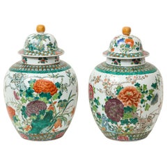 Large Pair of Chinese Porcelain Famille Verte Covered Jars