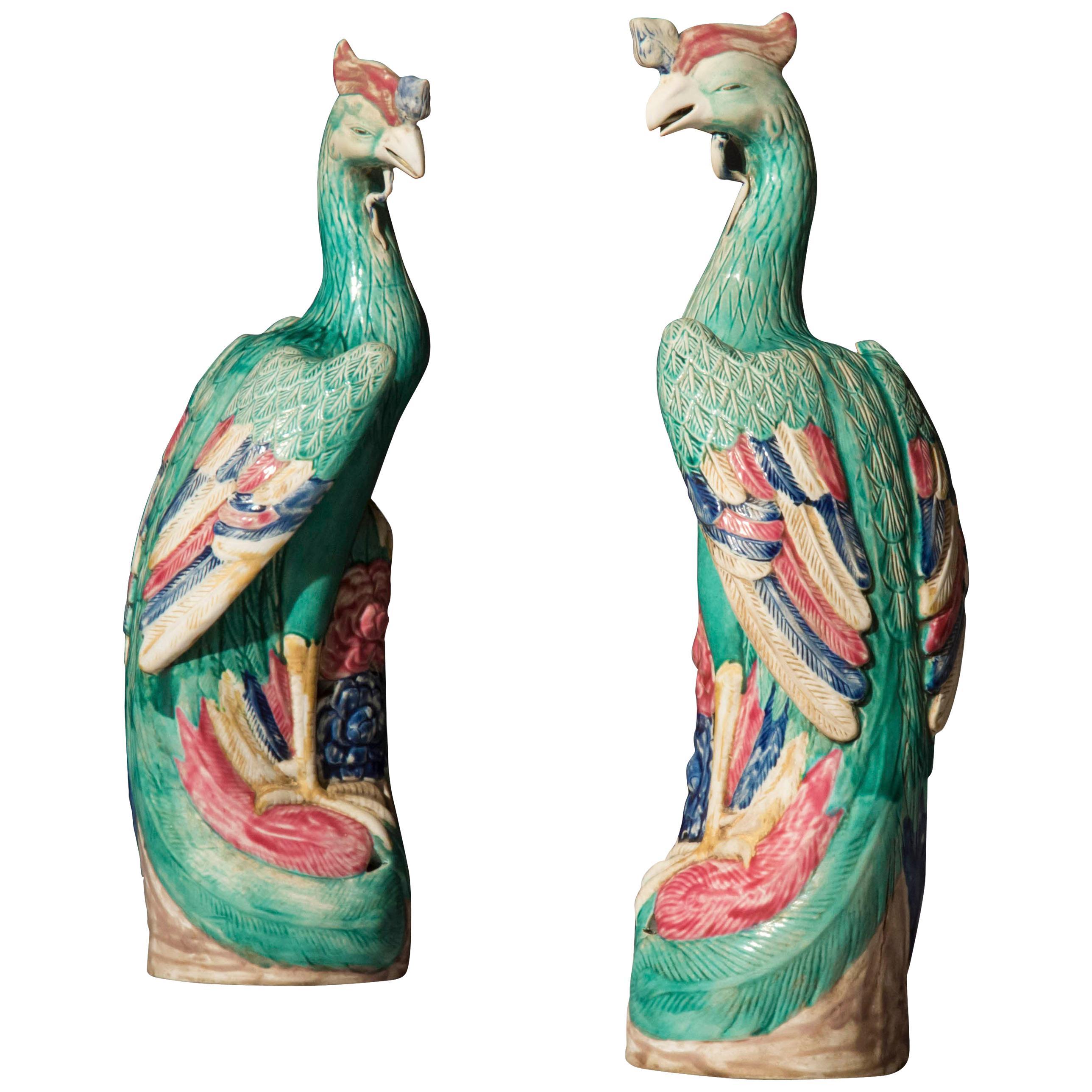 Large Pair of Chinese Porcelain Phoenix Bird Figurines