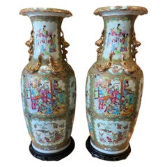 Large Pair of Chinese Rose Medallion Vases before 1850