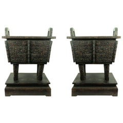 Large Pair of Chinese Shang Style Bronze Planters with Liner