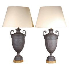 Large Pair of circa 1900, Basalt Lamps