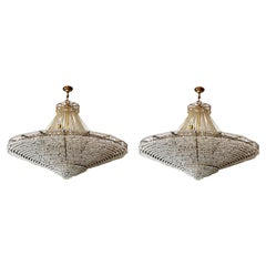 Large Pair of Classical Ballroom Crystal Drop Chandeliers