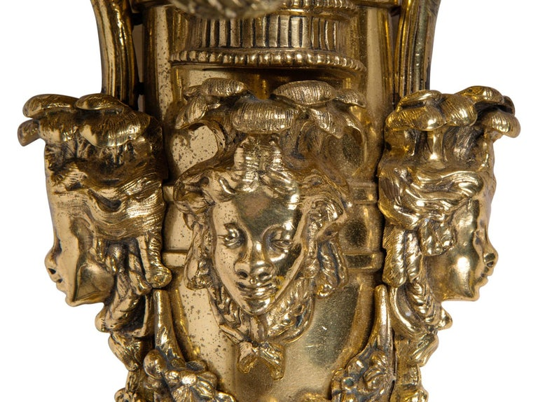 Large Pair of Classical Gilded Wall Lights, 19th Century For Sale 4