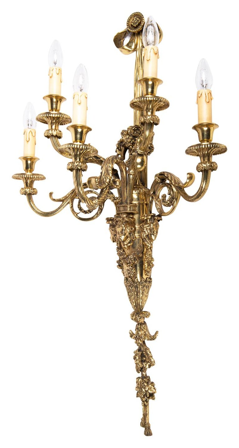 French Large Pair of Classical Gilded Wall Lights, 19th Century For Sale
