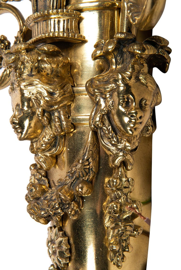 Large Pair of Classical Gilded Wall Lights, 19th Century For Sale 3