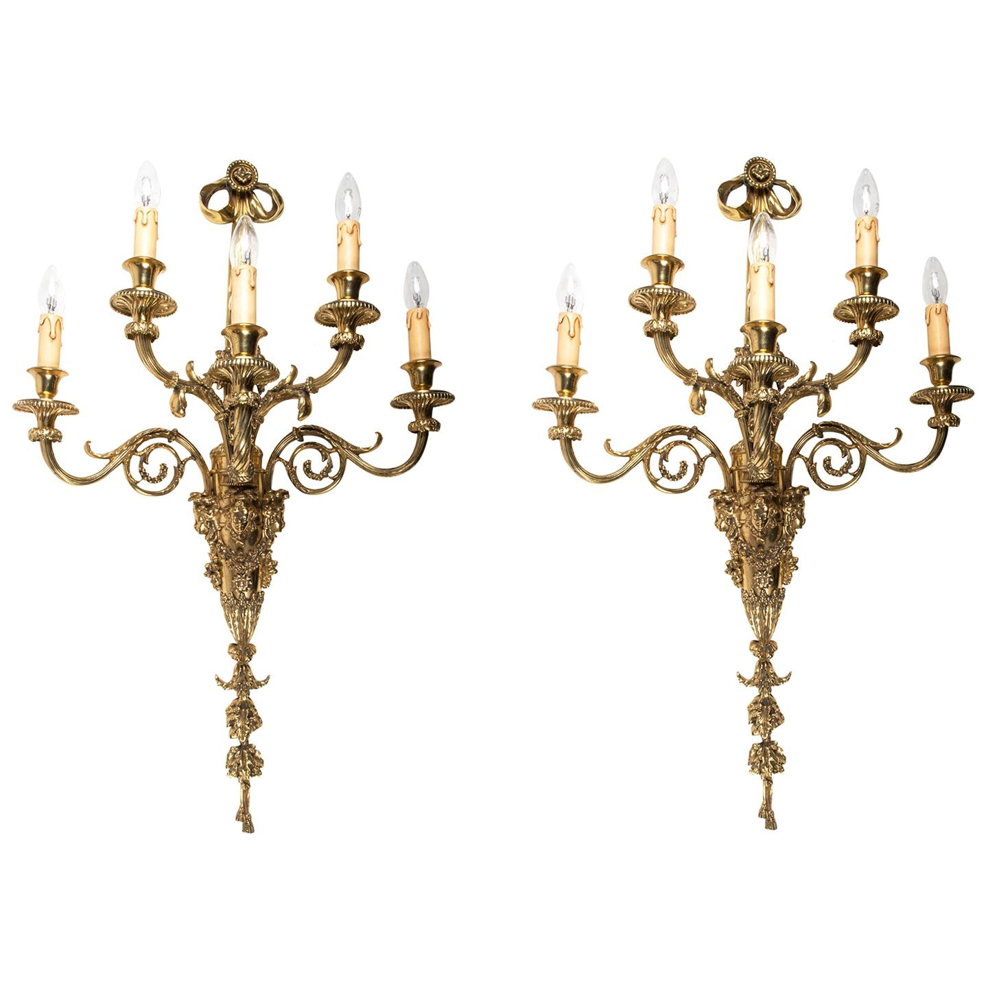 Large Pair of Classical Gilded Wall Lights, 19th Century