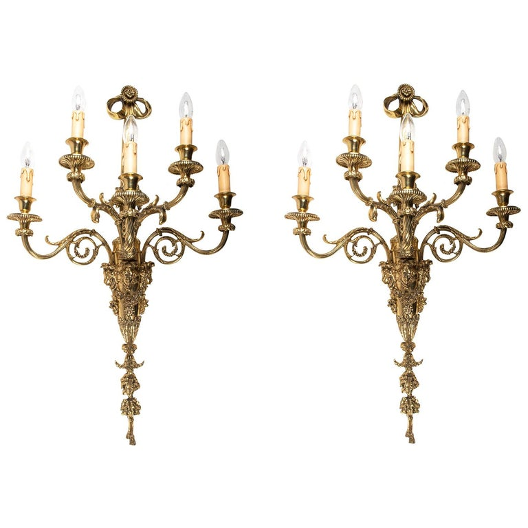 Large Pair of Classical Gilded Wall Lights, 19th Century For Sale