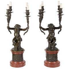 Large Pair of Clodian Bronze Candelabra, 19th Century