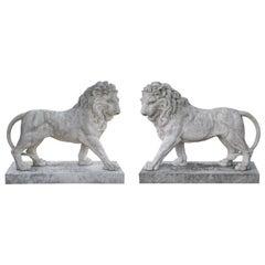 Large Pair of Coade Standing Lions