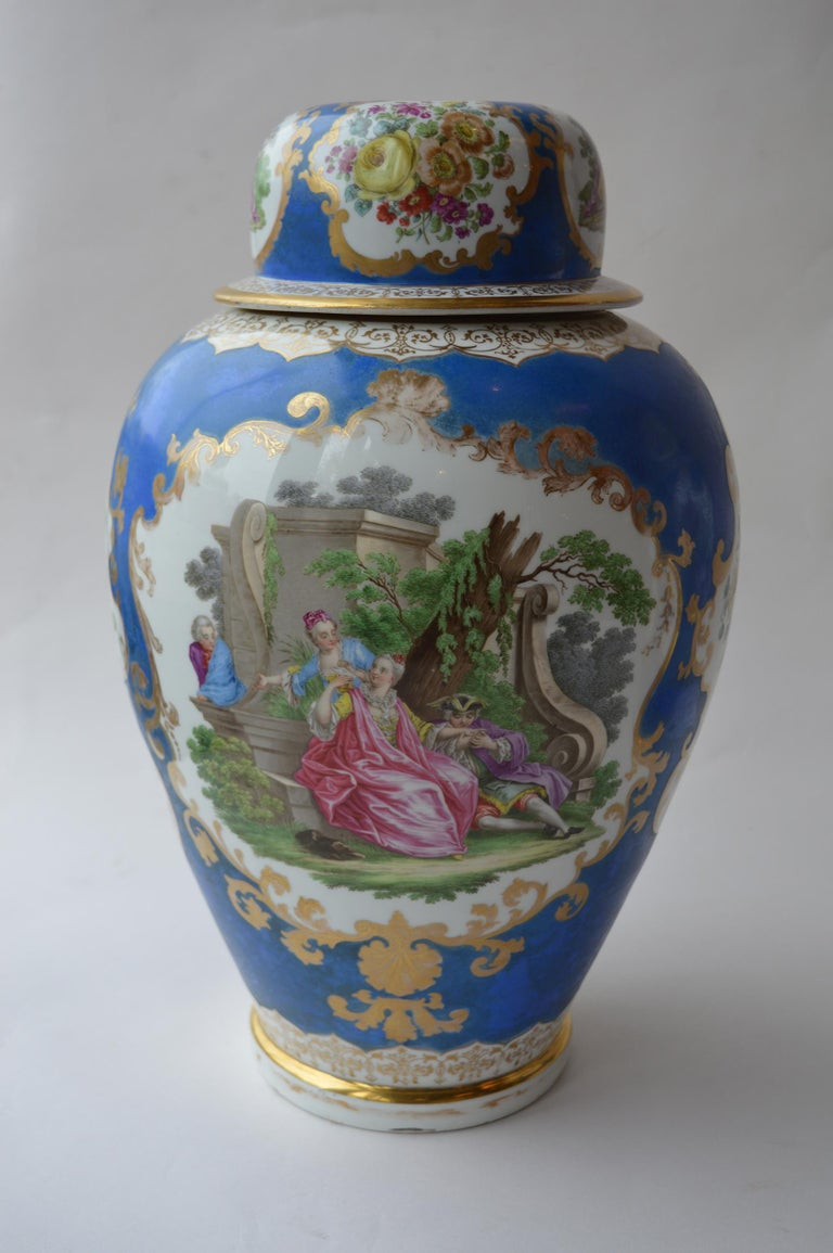 A large pair of continental Meissen style