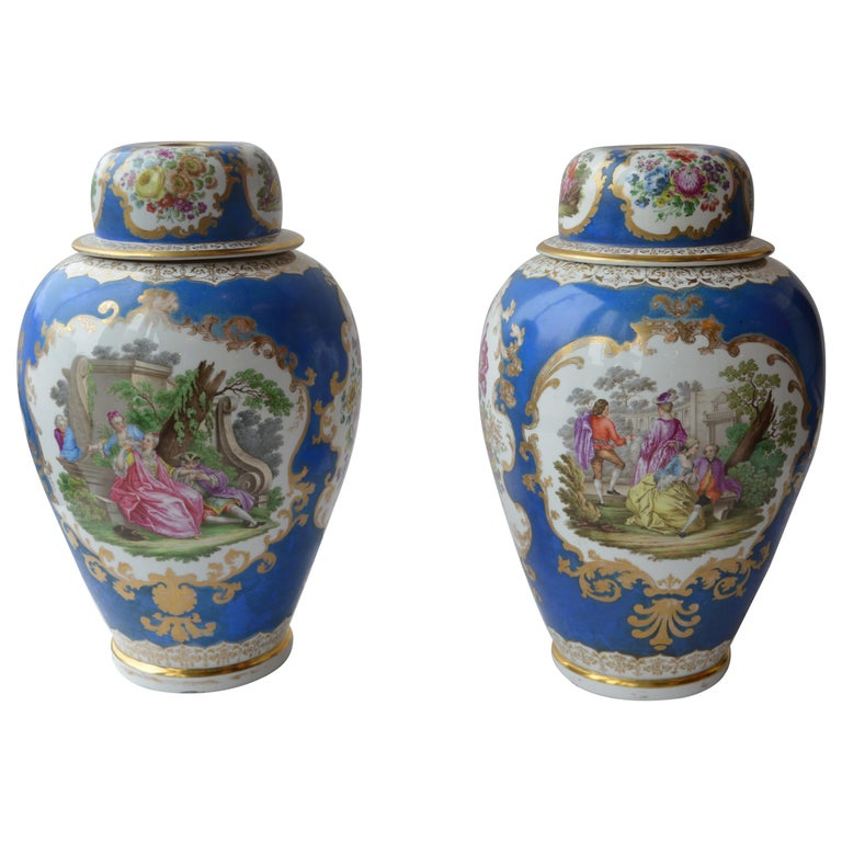 "Large Pair of Continental Meissen Style ""Augustus Rex"" Porcelain Vases For Sale"