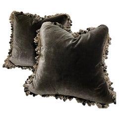 Large Pair of Dark Gray Silk Velvet Cushions