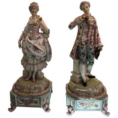 Large Pair of Dresden Figures of Aristocratic Couple