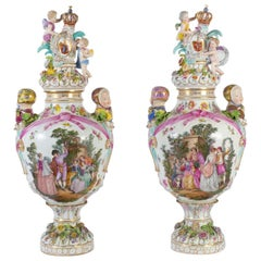 Large Pair of Dresden Vases
